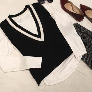 Banana Republic Sweater Vest Black & White